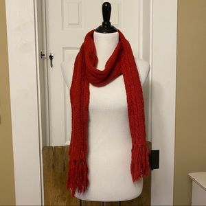 Aeropostale Red Cable Knit Fringe Scarf